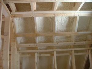 3″ spray foam between roof rafters.