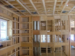 Interior framing of the kitchen.