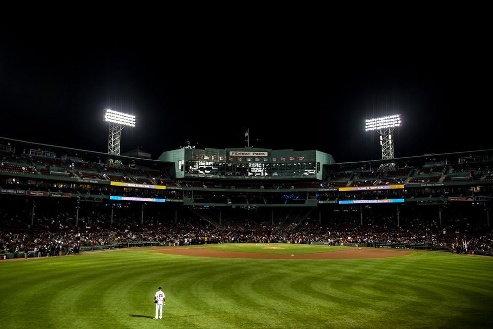 September 9, 2018 - Boston, MA: Boston Red Sox pitcher Rick Porcello warms up in the outfield before the Boston Red Sox face the Houston Astros at Fenway Park in Boston, Massachusetts on Sunday, September 9, 2018. (Photo by Matthew Thomas/Boston Red Sox)
