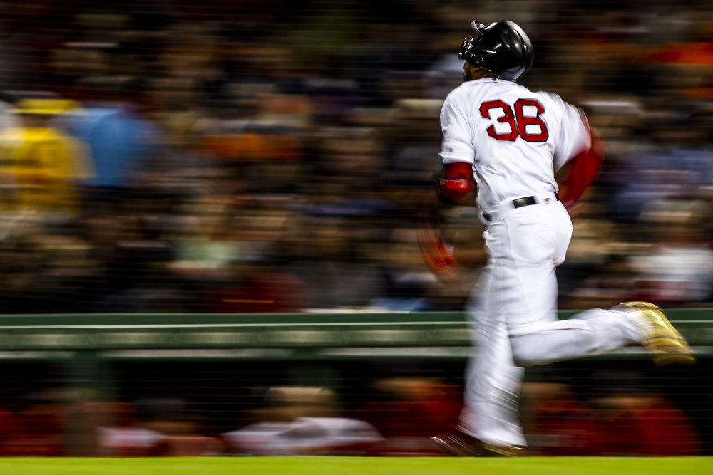 September 9, 2018 - Boston, MA: Boston Red Sox second basemen Eduardo Nunez runs down the first baseline as the Boston Red Sox face the Houston Astros at Fenway Park in Boston, Massachusetts on Sunday, September 9, 2018. (Photo by Matthew Thomas/Boston Red Sox)