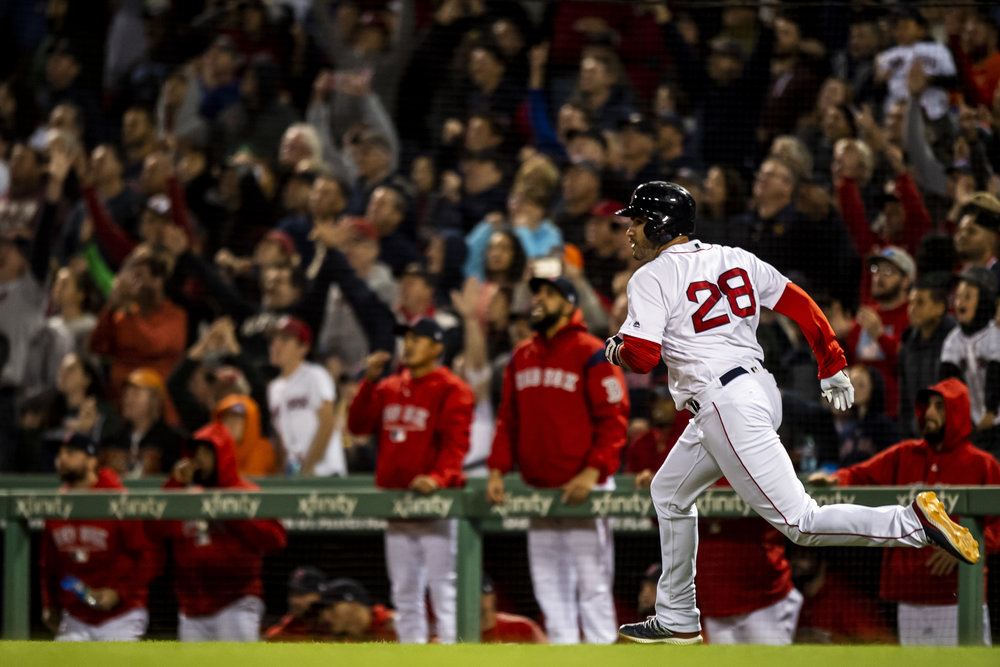 September 9, 2018 - Boston, MA: Boston Red Sox outfielder J.D. Martinez runs rounds the bases after hitting a home run #40 as the Boston Red Sox face the Houston Astros at Fenway Park in Boston, Massachusetts on Sunday, September 9, 2018. (Photo by Matthew Thomas/Boston Red Sox)
