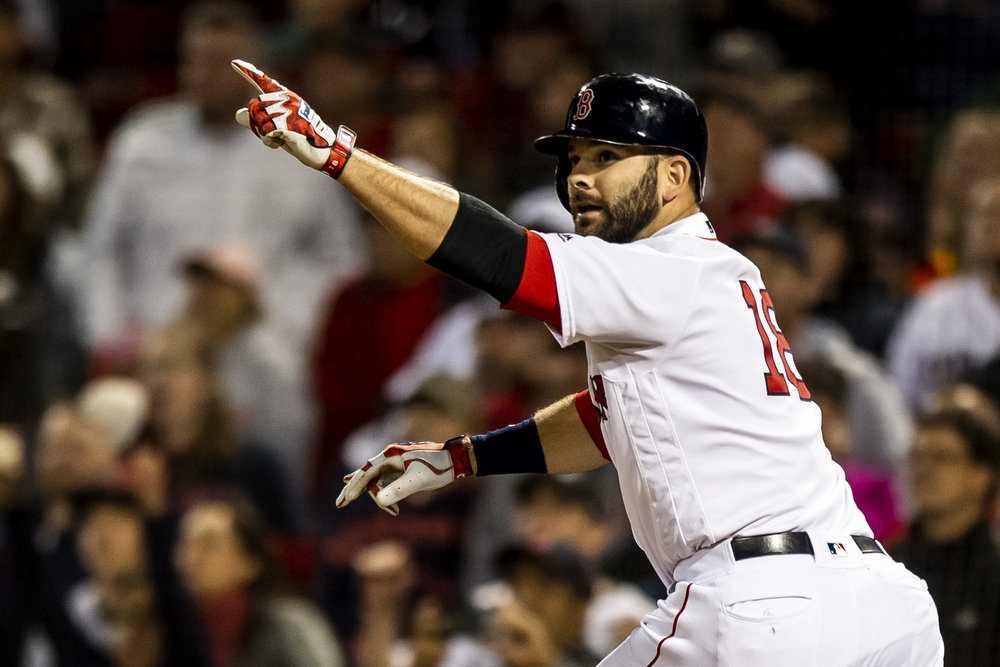 September 9, 2018 - Boston, MA: Boston Red Sox first basemen Mitch Moreland point his finger in celebration after the Boston Red Sox defeated the Houston Astros at Fenway Park in Boston, Massachusetts on Sunday, September 9, 2018. (Photo by Matthew Thomas/Boston Red Sox)