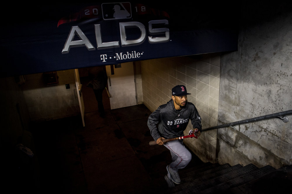 October 9, 2018, New York, NY: Boston Red Sox outfielder Mookie Betts takes the field for batting practice the Boston Red Sox face the New York Yankees in Game 4 of the ALDS at Yankee Stadium in New York, New York on Tuesday, October 9, 2018. (Photo by Matthew Thomas/Boston Red Sox)