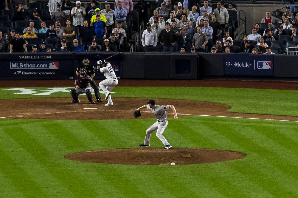 October 9, 2018, New York, NY: Boston Red Sox pitcher Chris Sale throws a pitch in the eighth inning in relief as the Boston Red Sox face the New York Yankees in Game 4 of the ALDS at Yankee Stadium in New York, New York on Tuesday, October 9, 2018. (Photo by Matthew Thomas/Boston Red Sox)