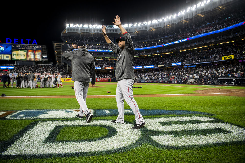 October 9, 2018, New York, NY: Boston Red Sox Manager Alex Cora waves to the crowd after the Boston Red Sox defeated the New York Yankees in Game 4 of the ALDS to win the series at Yankee Stadium in New York, New York on Tuesday, October 9, 2018. (Photo by Matthew Thomas/Boston Red Sox)
