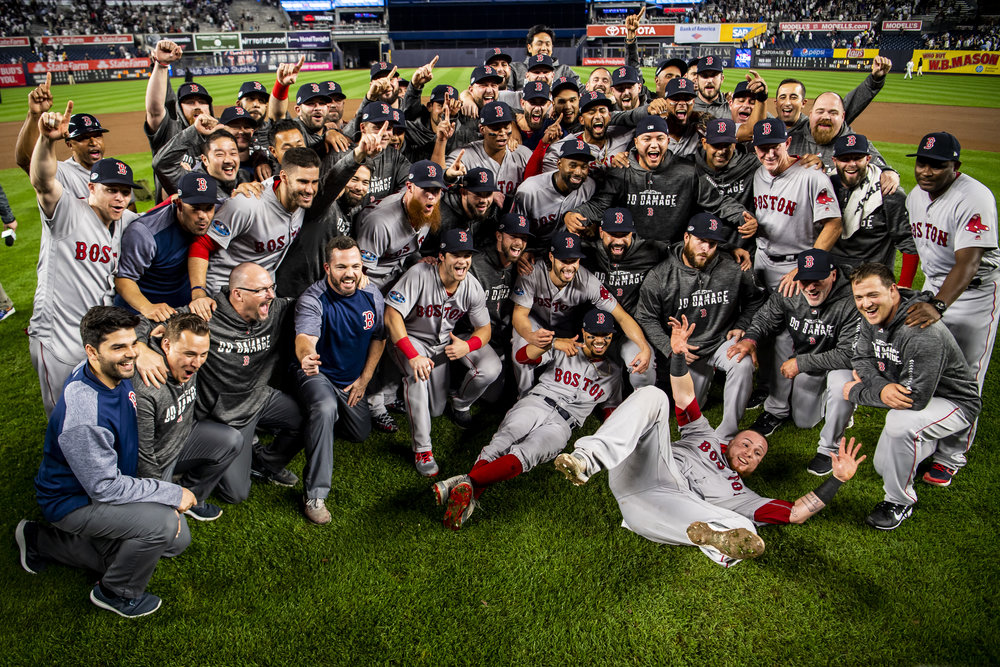 October 9, 2018, New York, NY: The entire team and staff pose for a photo on the field after the Boston Red Sox defeated the New York Yankees in Game 4 of the ALDS to win the series at Yankee Stadium in New York, New York on Tuesday, October 9, 2018. (Photo by Matthew Thomas/Boston Red Sox)