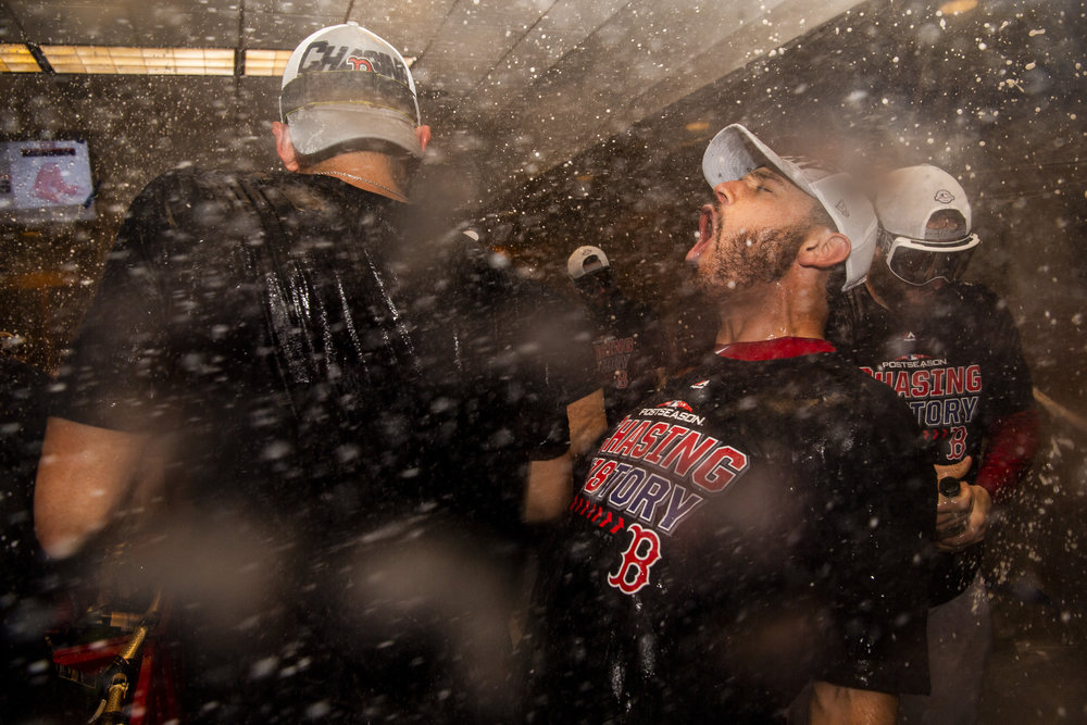 October 9, 2018, New York, NY: Boston Red Sox second basemen Ian Kinsler screams in celebration after the Boston Red Sox defeated the New York Yankees in Game 4 of the ALDS to win the series at Yankee Stadium in New York, New York on Tuesday, October 9, 2018. (Photo by Matthew Thomas/Boston Red Sox)