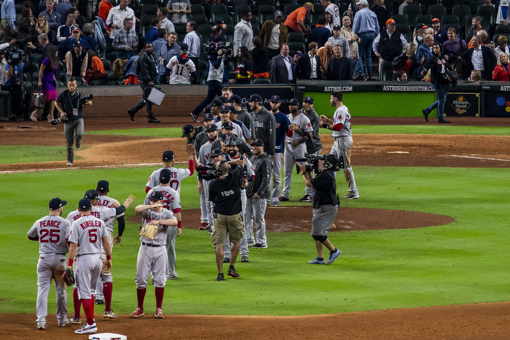 October 17, 2018, Houston, TX: The Boston Red Sox celebrate after defeating the Houston Astros in Game 4 of the ALCS at Minute Maid Park in Houston, Texas on Wednesday, October 17, 2018. (Photo by Matthew Thomas/Boston Red Sox)