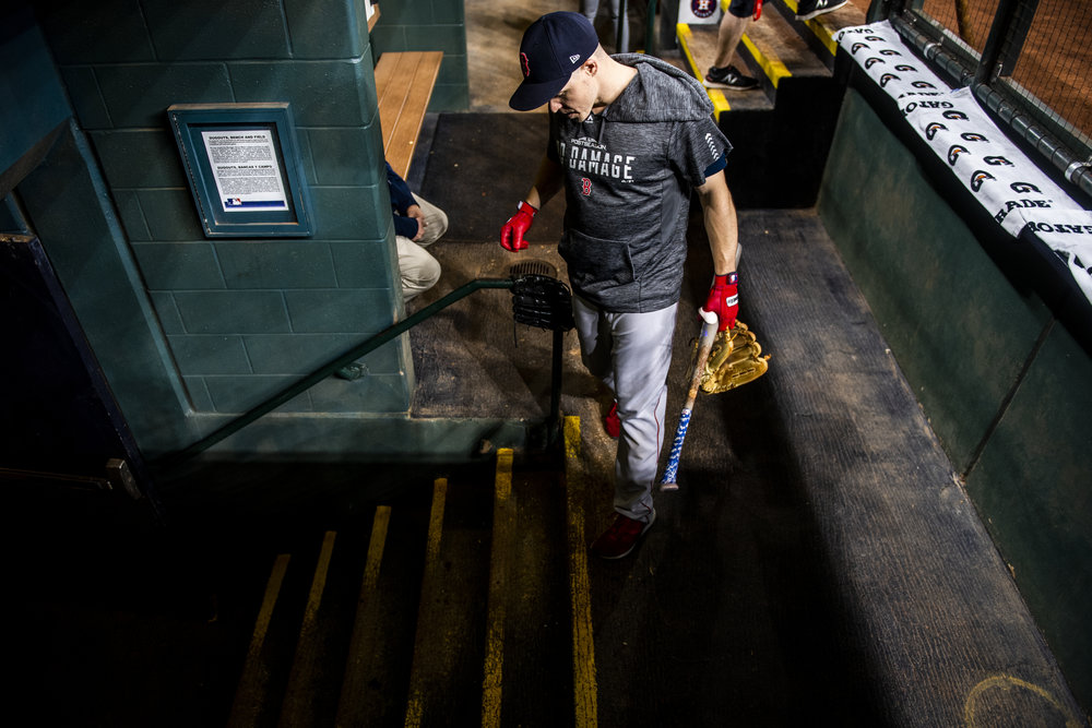October 17, 2018, Houston, TX: Boston Red Sox infielder Brock Holt heads to the clubhouse after batting practice before the Boston Red Sox face the Houston Astros in Game 4 of the ALCS at Minute Maid Park in Houston, Texas on Wednesday, October 17, 2018. (Photo by Matthew Thomas/Boston Red Sox)