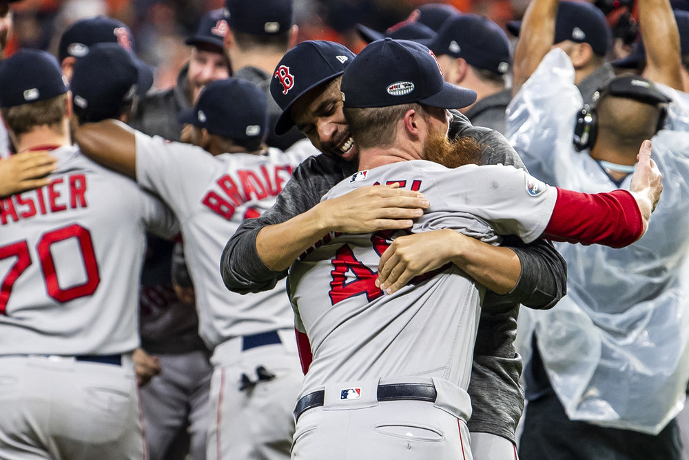 October 18, 2018, Houston, TX: Boston Red Sox pitcher David Price hugs Boston Red Sox pitcher Craig Kimbrel after the Boston Red Sox defeated the Houston Astros in Game 5 of the ALCS to advance to the World Series at Minute Maid Park in Houston, Texas on Thursday, October 18, 2018. (Photo by Matthew Thomas/Boston Red Sox)