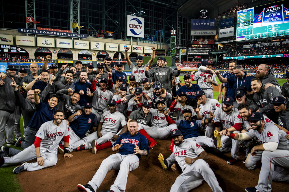 October 18, 2018, Houston, TX: The Boston Red Sox pose for a team photo after defeating the Houston Astros in Game 5 of the ALCS to advance to the World Series at Minute Maid Park in Houston, Texas on Thursday, October 18, 2018. (Photo by Matthew Thomas/Boston Red Sox)