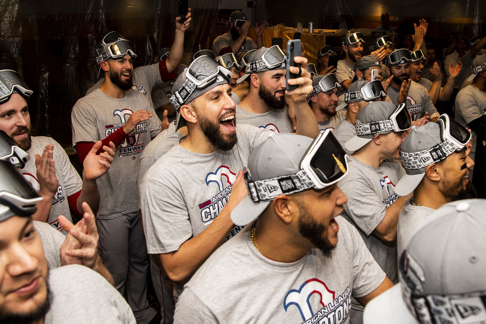 October 18, 2018, Houston, TX: The Boston Red Sox react during the trophy presentation after defeating the Houston Astros in Game 5 of the ALCS to advance to the World Series at Minute Maid Park in Houston, Texas on Thursday, October 18, 2018. (Photo by Matthew Thomas/Boston Red Sox)