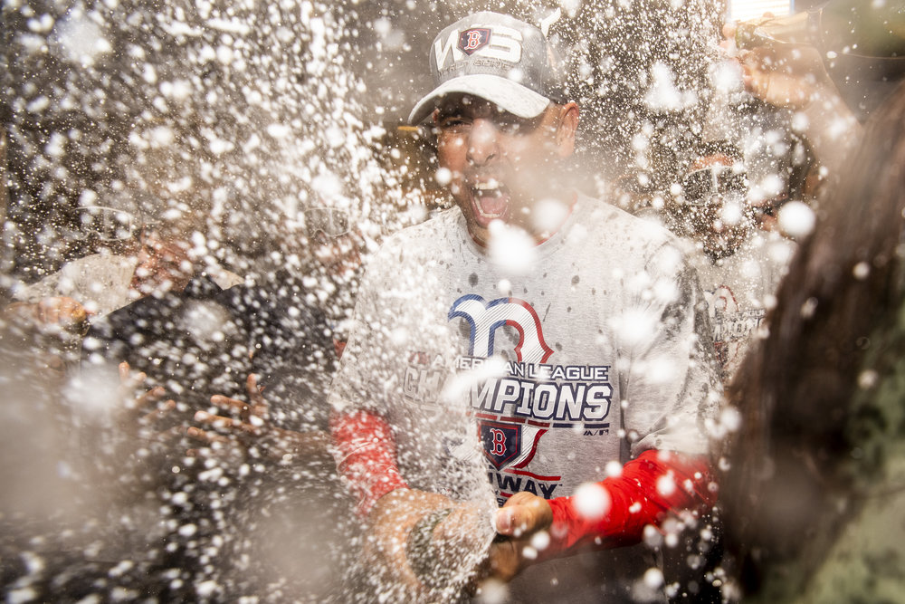 October 18, 2018, Houston, TX: Boston Red Sox Manager Alex Cora sprays champagne after the Boston Red Sox defeated the Houston Astros in Game 5 of the ALCS to advance to the World Series at Minute Maid Park in Houston, Texas on Thursday, October 18, 2018. (Photo by Matthew Thomas/Boston Red Sox)