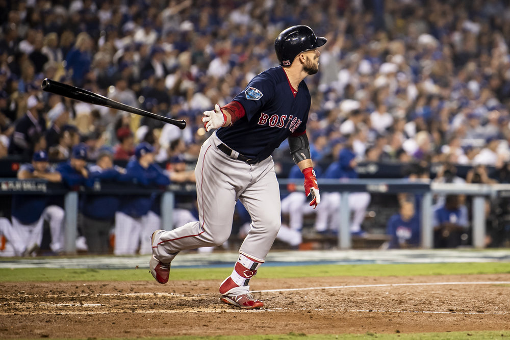 October 28, 2018, Los Angeles, Ca: Boston Red Sox infielder Steve Pearce hits a home run as the Boston Red Sox face the Los Angeles Dodgers in Game 5 of the World Series at Dodger Stadium in Los Angeles, California on Saturday, October 28, 2018. (Photo by Matthew Thomas/Boston Red Sox)