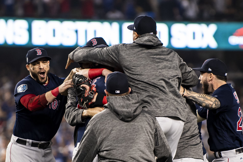 October 28, 2018, Los Angeles, Ca: The team reacts after the Boston Red Sox defeated the Los Angeles Dodgers in Game 5 to win the World Series at Dodger Stadium in Los Angeles, California on Saturday, October 28, 2018. (Photo by Matthew Thomas/Boston Red Sox)