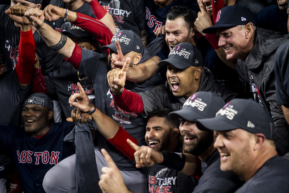 October 28, 2018, Los Angeles, Ca: Boston Red Sox Manager Alex Cora celebrates after the Boston Red Sox defeated the Los Angeles Dodgers in Game 5 to win the World Series at Dodger Stadium in Los Angeles, California on Saturday, October 28, 2018. (Photo by Matthew Thomas/Boston Red Sox)