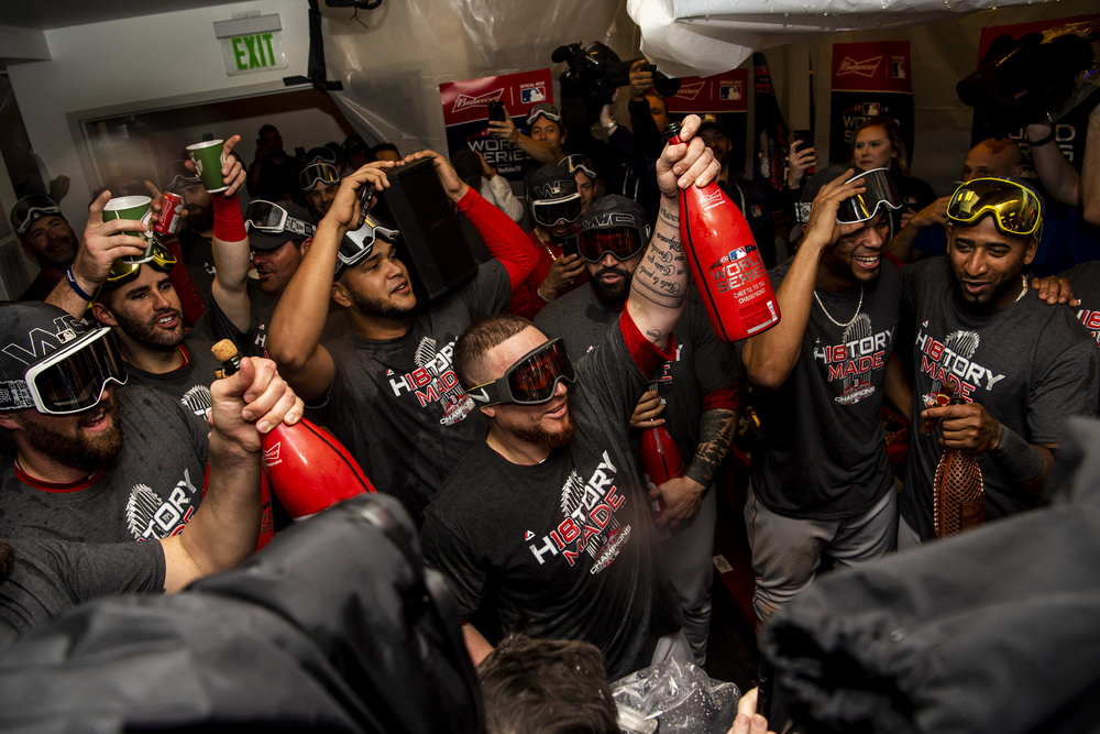 October 28, 2018, Los Angeles, Ca: The players circle up after the Boston Red Sox defeated the Los Angeles Dodgers in Game 5 to win the World Series at Dodger Stadium in Los Angeles, California on Saturday, October 28, 2018. (Photo by Matthew Thomas/Boston Red Sox)