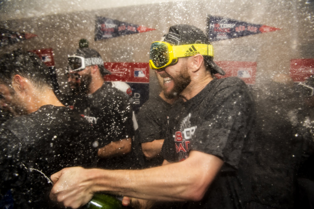 October 28, 2018, Los Angeles, Ca: Boston Red Sox pitcher Chris Sale sprays champagne after the Boston Red Sox defeated the Los Angeles Dodgers in Game 5 to win the World Series at Dodger Stadium in Los Angeles, California on Saturday, October 28, 2018. (Photo by Matthew Thomas/Boston Red Sox)