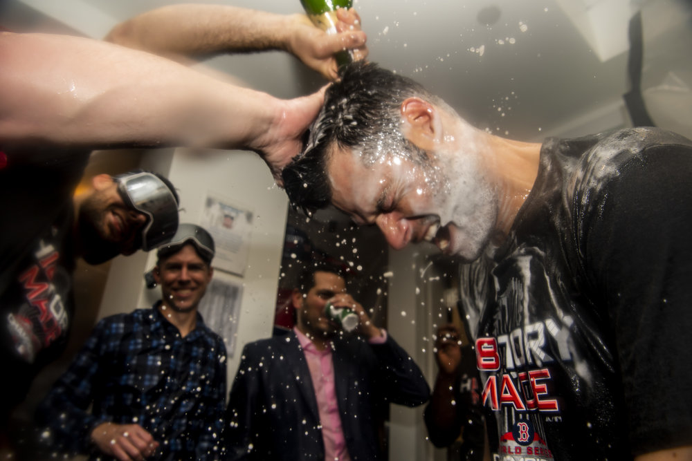 October 28, 2018, Los Angeles, Ca: Boston Red Sox pitcher Joe Kelly is covered in champagne after the Boston Red Sox defeated the Los Angeles Dodgers in Game 5 to win the World Series at Dodger Stadium in Los Angeles, California on Saturday, October 28, 2018. (Photo by Matthew Thomas/Boston Red Sox)