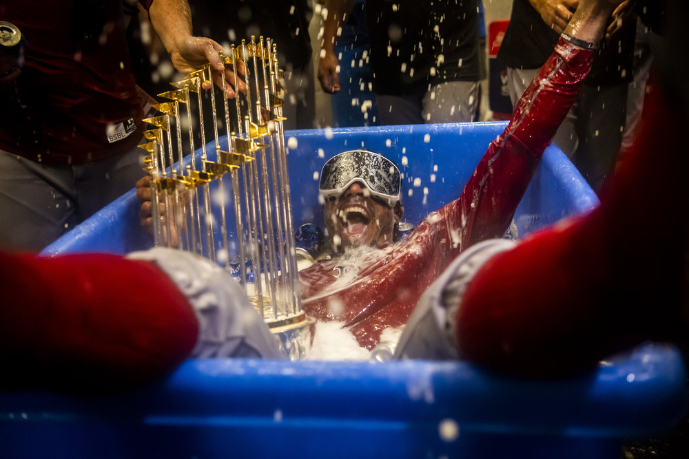 October 28, 2018, Los Angeles, Ca: Boston Red Sox outfielder Mookie Betts celebrates after the Boston Red Sox defeated the Los Angeles Dodgers in Game 5 to win the World Series at Dodger Stadium in Los Angeles, California on Saturday, October 28, 2018. (Photo by Matthew Thomas/Boston Red Sox)