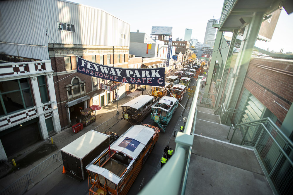 October 31, 2018, Boston, MA: The Duck Boats line up on Lansdowne Street before the Red Sox Celebrate the World Series Parade in Boston, Massachusetts on Wednesday, October 31, 2018. (Photo by Matthew Thomas/Boston Red Sox)
