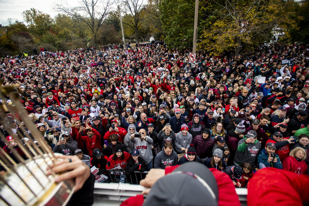 October 31, 2018, Boston, MA: Fans line the streets as the Red Sox Celebrate the World Series Parade in Boston, Massachusetts on Wednesday, October 31, 2018. (Photo by Matthew Thomas/Boston Red Sox)