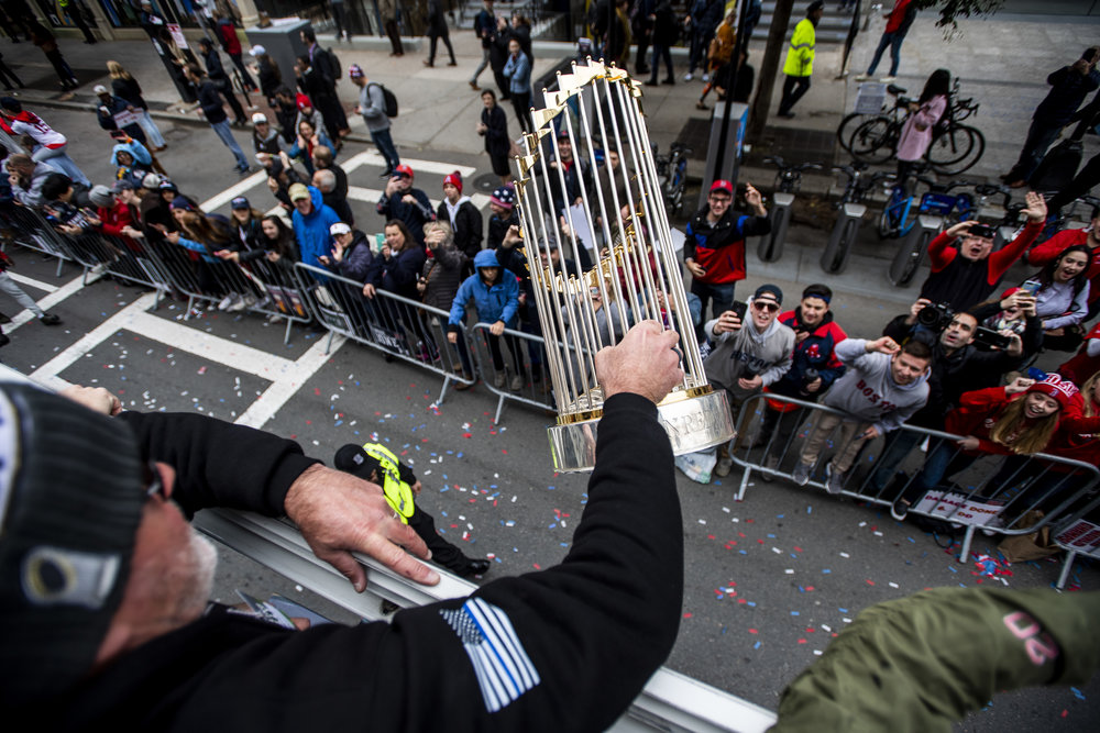 October 31, 2018, Boston, MA: Boston Red Sox Pitching Coach Dana LeVangie holds up the World Series trophy  as the Red Sox Celebrate the World Series Parade in Boston, Massachusetts on Wednesday, October 31, 2018. (Photo by Matthew Thomas/Boston Red Sox)