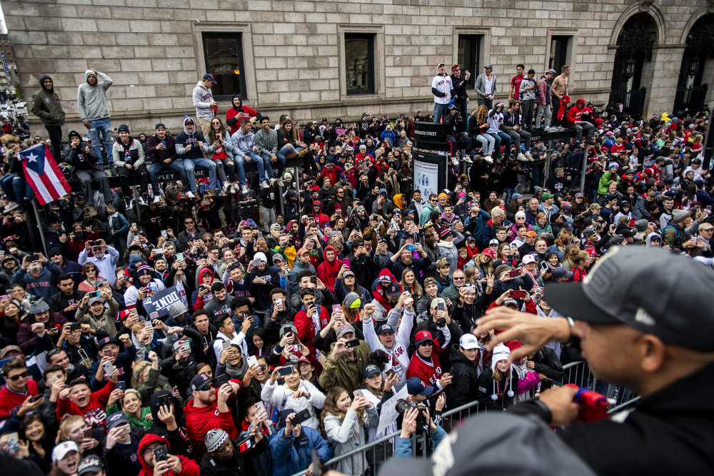 October 31, 2018, Boston, MA: Fans cheer for Boston Red Sox Manager Alex Cora as the Red Sox Celebrate the World Series Parade in Boston, Massachusetts on Wednesday, October 31, 2018. (Photo by Matthew Thomas/Boston Red Sox)