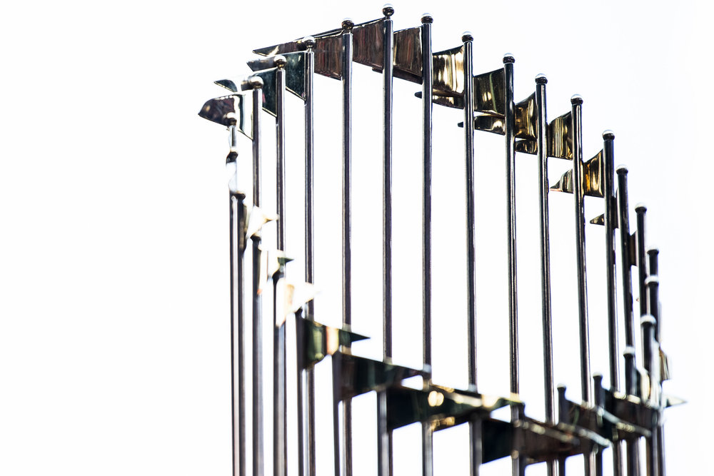 October 31, 2018, Boston, MA: The World Series trophy sits on a table before the Red Sox Celebrate the World Series Parade in Boston, Massachusetts on Wednesday, October 31, 2018. (Photo by Matthew Thomas/Boston Red Sox)