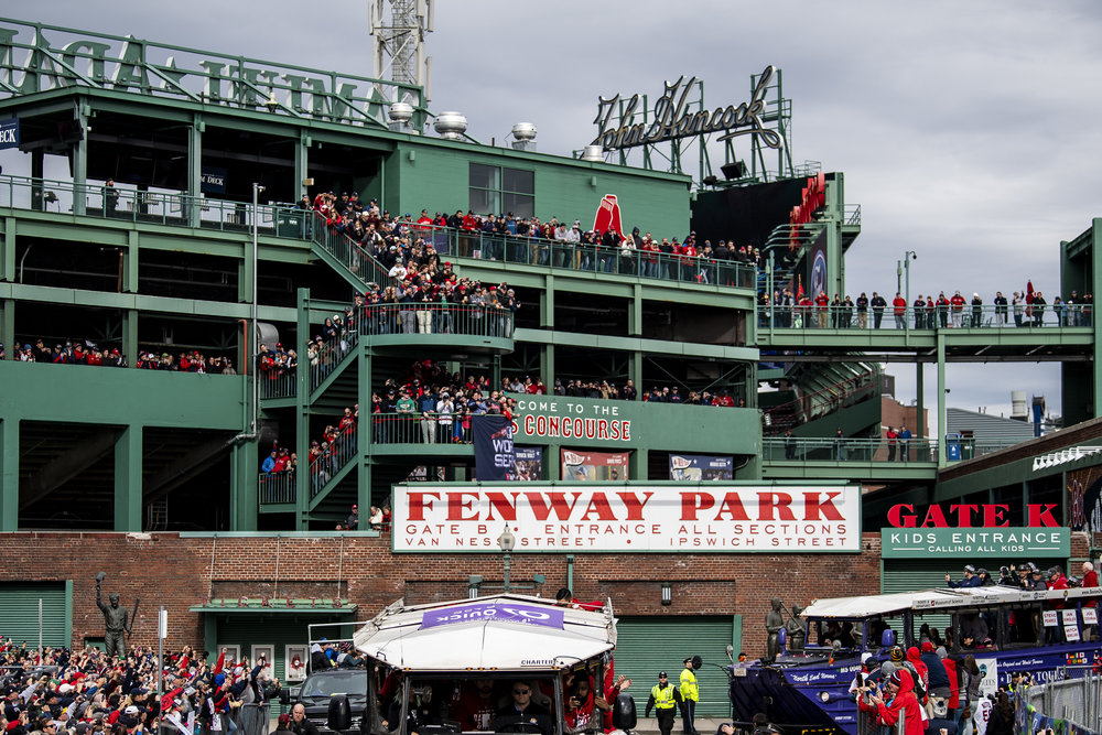 October 31, 2018, Boston, MA: Fans line the stands of Fenway Park to watch the parade as the Red Sox Celebrate the World Series Parade in Boston, Massachusetts on Wednesday, October 31, 2018. (Photo by Matthew Thomas/Boston Red Sox)