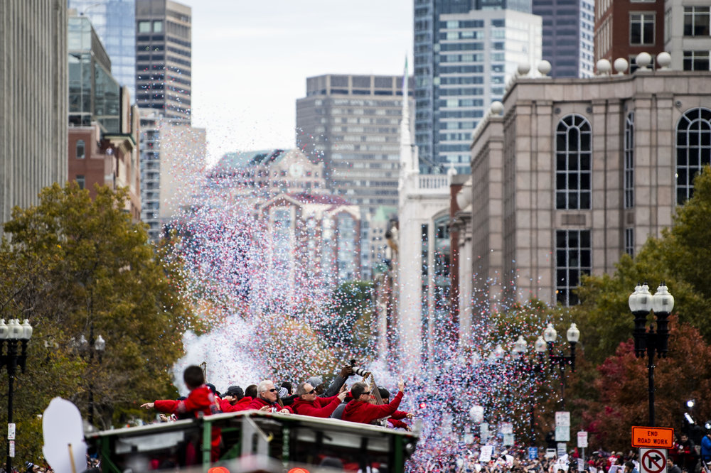 October 31, 2018, Boston, MA: Confetti shoots off of one of the duck boats as the Red Sox Celebrate the World Series Parade in Boston, Massachusetts on Wednesday, October 31, 2018. (Photo by Matthew Thomas/Boston Red Sox)