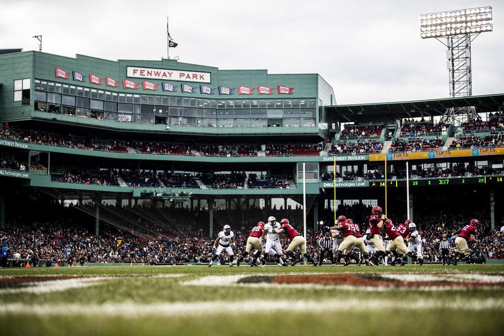 November 16, 2018, Boston, MA: A Harvard Player makes a throw during the Harvard University and Yale University football Game at Fenway Park in Boston, Massachusetts on Thursday, November 16, 2018. (Photo by Matthew Thomas/Boston Red Sox)