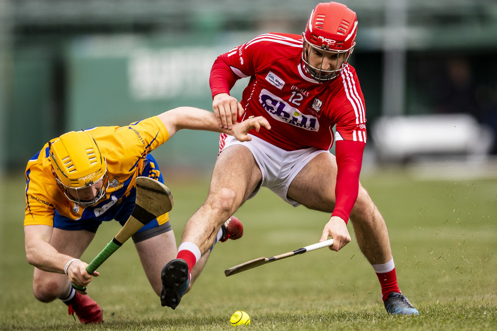 November 18, 2018, Boston, MA: Cork faces Clare in a match during the Fenway Hurling Classic at Fenway Park in Boston, Massachusetts on Sunday, November 18, 2018. (Photo by Matthew Thomas/Boston Red Sox)