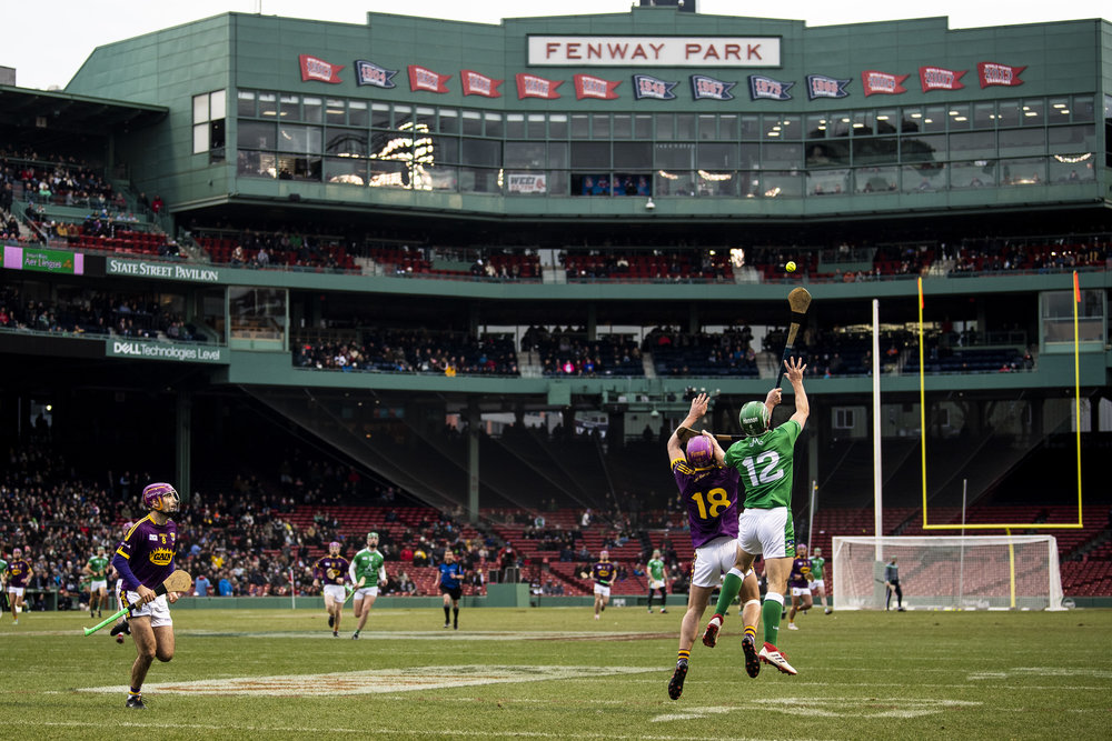 November 18, 2018, Boston, MA: Limerick faces Westford in a match  during the Fenway Hurling Classic at Fenway Park in Boston, Massachusetts on Sunday, November 18, 2018. (Photo by Matthew Thomas/Boston Red Sox)