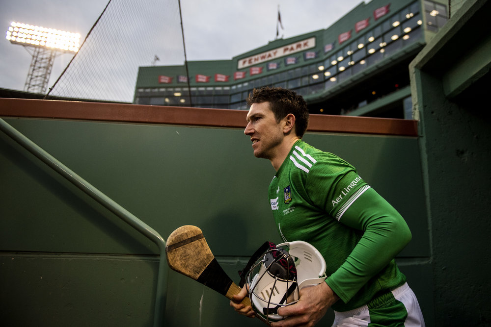 November 18, 2018, Boston, MA: Limerick players come down the tunnel before facing Cork in the Championship match during the Fenway Hurling Classic at Fenway Park in Boston, Massachusetts on Sunday, November 18, 2018. (Photo by Matthew Thomas/Boston Red Sox)