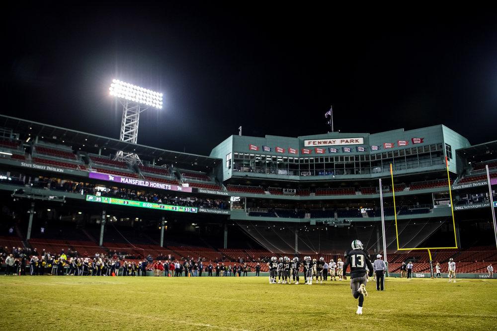 November 20, 2018, Boston, MA: Local high school football teams face off at Fenway Park in Boston, Massachusetts on Tuesday, November 20, 2018. (Photo by Matthew Thomas/Boston Red Sox)