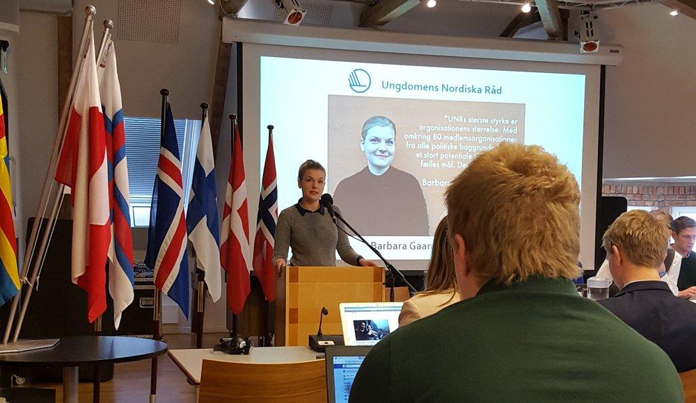 Barbara Gaardlykke håller sitt första tal som UNR:s president.