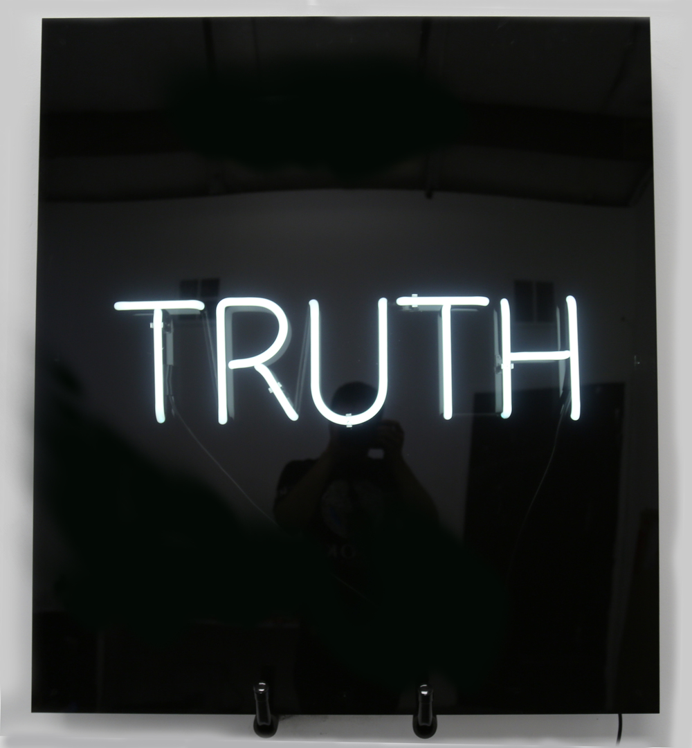 """Truth""  2015  (neon light, black plexiglass, smoked plexiglass)  50 x 35 inch"