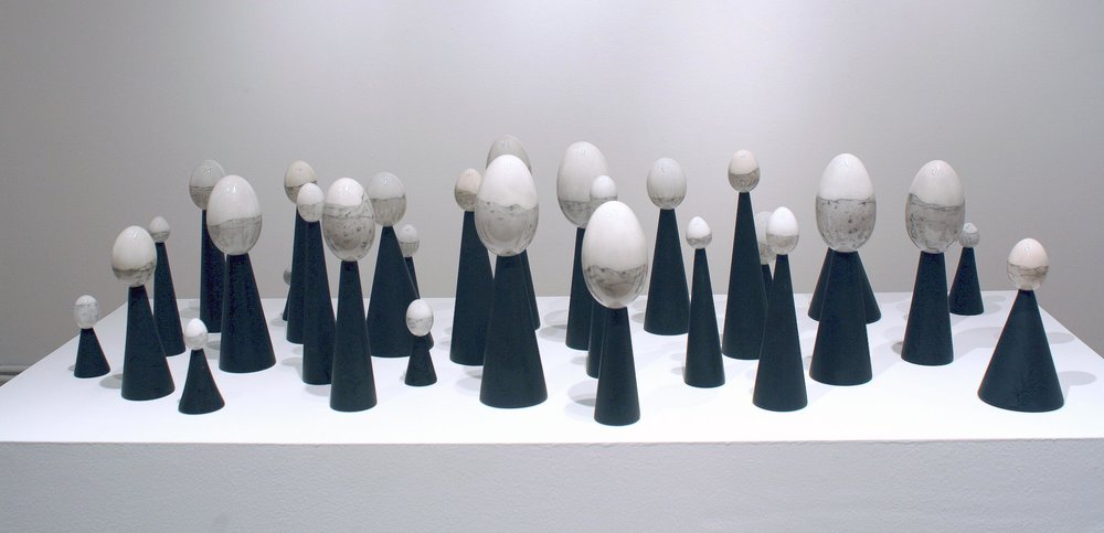"Scape    Drypoint etched eggs with mixed media on painted plaster bases. 31 elements.  38"" x 26"" x 13"".   2010."