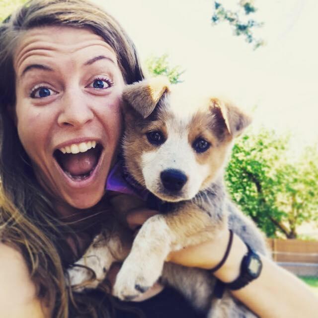 Roam Rydes podcast producer Ash Bocast and her dog Ryder