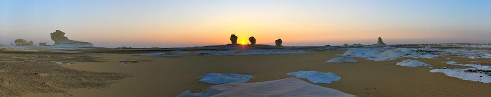 Sunrise over the White Desert, Egypt.
