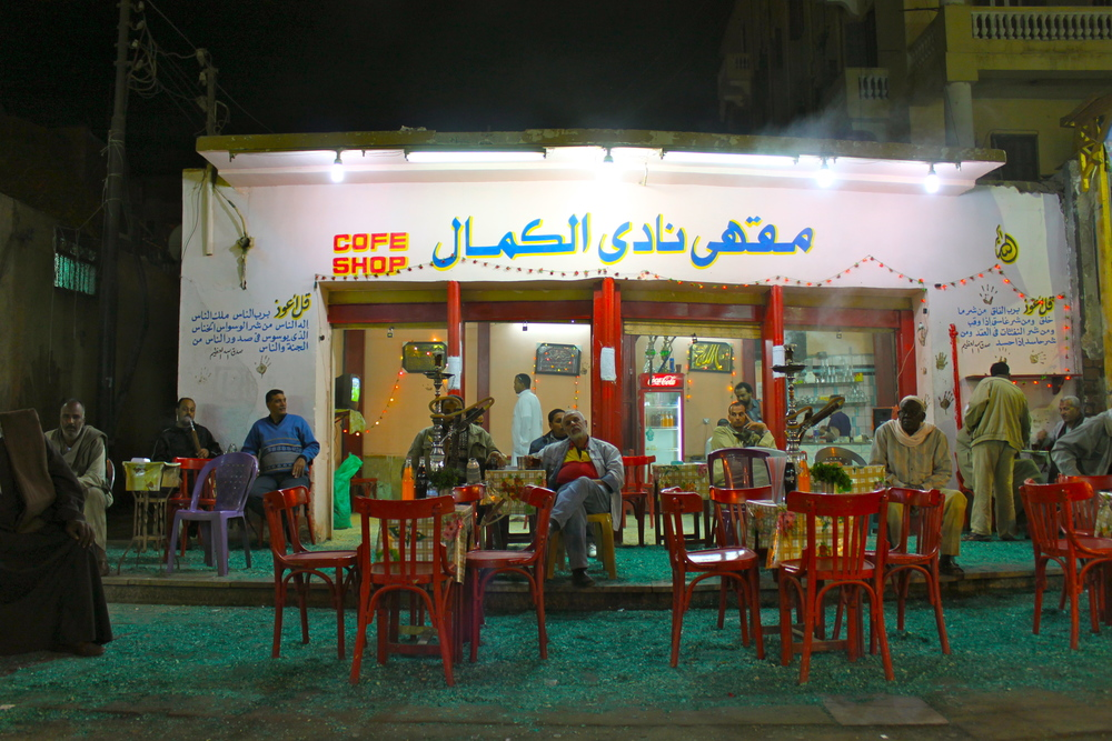 Locals enjoying some evening Shisha at a market cafe in Aswan, Egypt.
