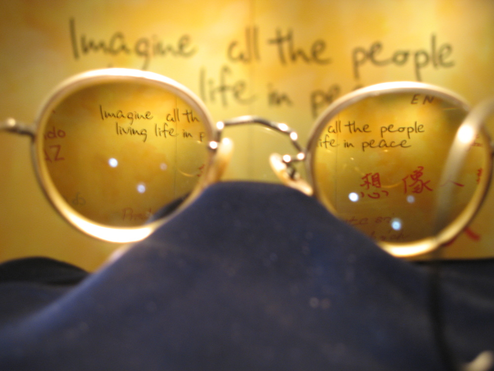 John Lennon's vision through his own spectacles at the Beatles Story Museum in Liverpool, England.