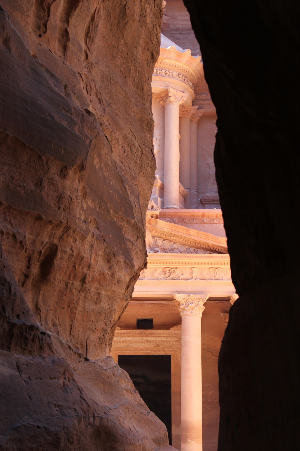 The Treasury reveals herself at the end of the Siq,the entrance to the ancient city ofPetra, Jordan.