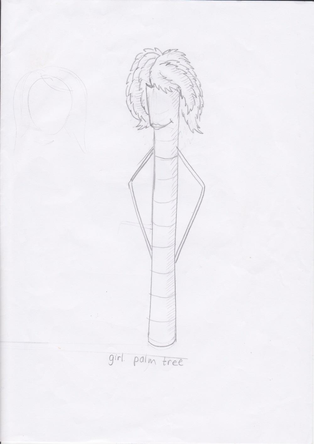 Character design for desert oasispalm tree (female)