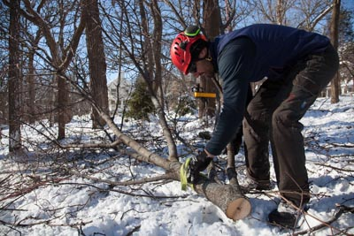 Brent disconnects a large branch in preparation to haul it to the chipper.