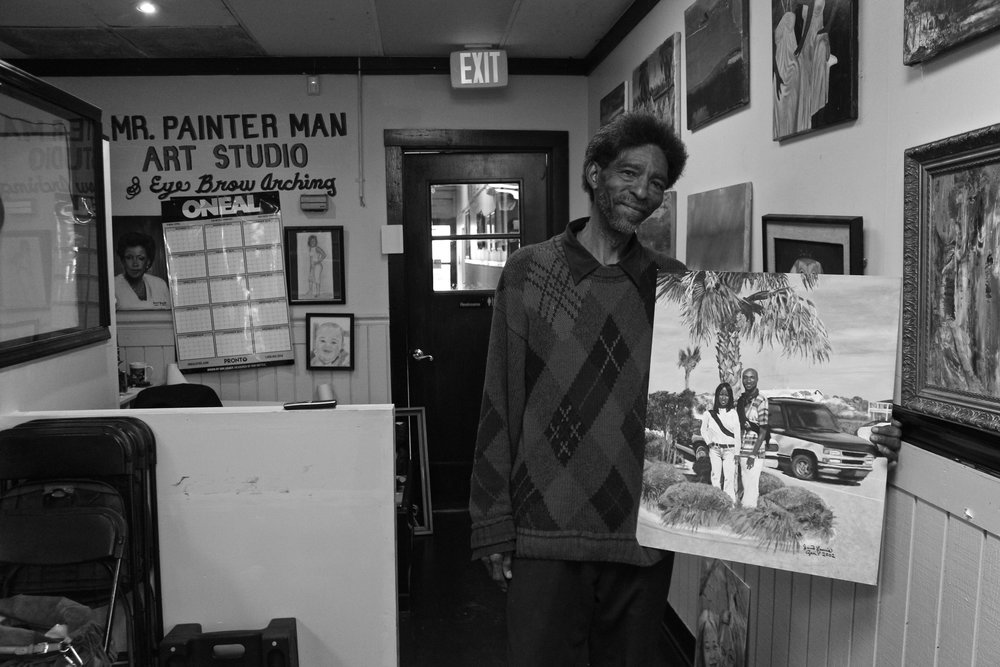 Birmingham artist Java Lewis in his studio, Birmingham, AL.