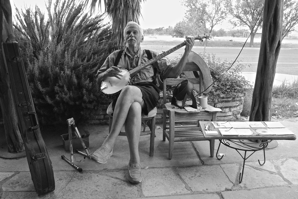 This lovely man plays banjo every morning outside of the Marathon Coffee Shop in Marathon, Texas.