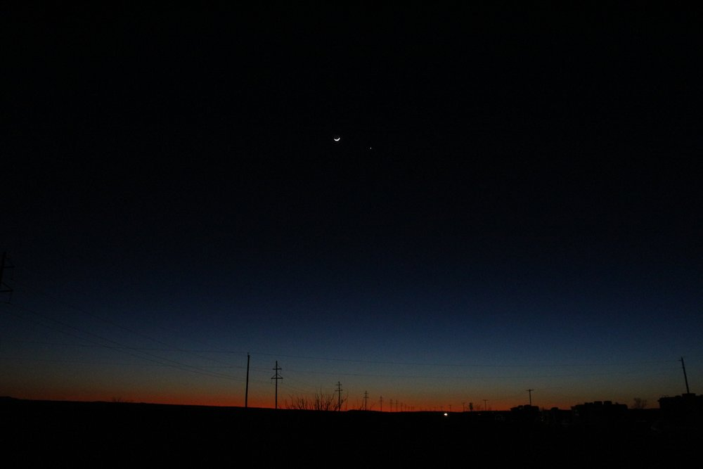 Sunset over the Marfa Lights in Marfa, Texas.