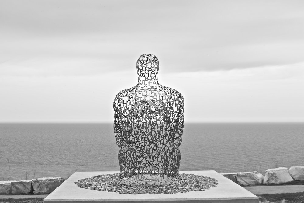 Spillover II by Juame Plensa, Lake Michigan, Milwaukee, WI.